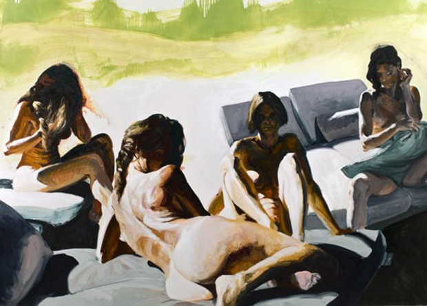 """Four Women"" by Eric Fischl, 2010. Oil on linen, 80 x 112 inches. Collection of Terry Semel."